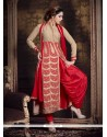 Piquant Embroidered Work Red Designer Suit