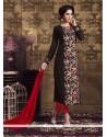Subtle Embroidered Work Brown Georgette Churidar Designer Suit