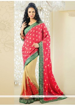 Cream And Pink Shaded Georgette Half And Half Saree
