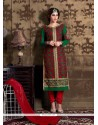 Compelling Georgette Green And Red Churidar Designer Suit