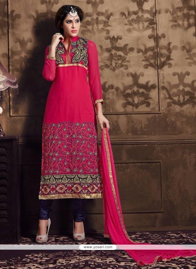 Splendid Magenta Patch Border Work Churidar Designer Suit