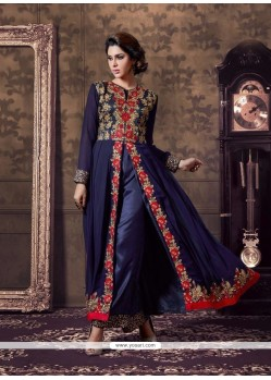 Nice Georgette Navy Blue Designer Suit