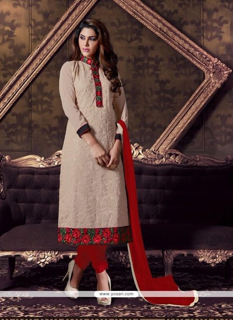 Haute Georgette Patch Border Work Churidar Designer Suit