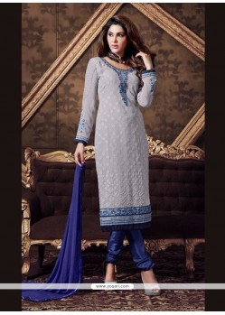 Vehemently Blue Georgette Churidar Designer Suit