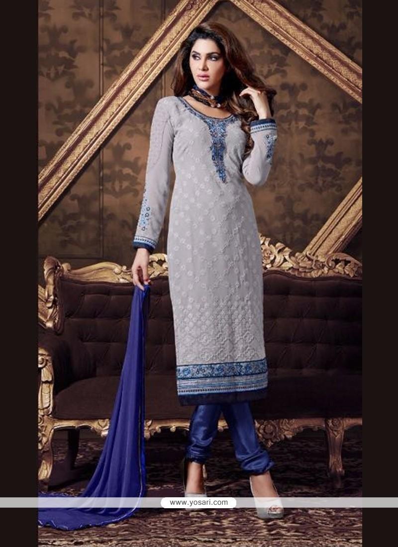 Vehemently Blue Georgette Churidar Designer Suit