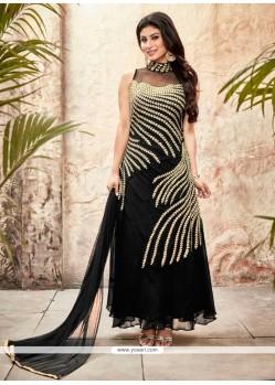 Desirable Black Embroidered Work Georgette Designer Suit