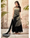 Desirable Black Embroidered Work Georgette Designer Suit
