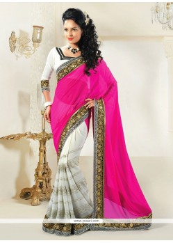 Off White And Pink Shaded Faux Georgette Designer Saree