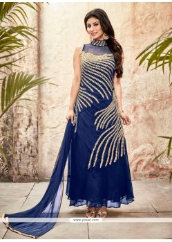 Radiant Blue Georgette Designer Suit