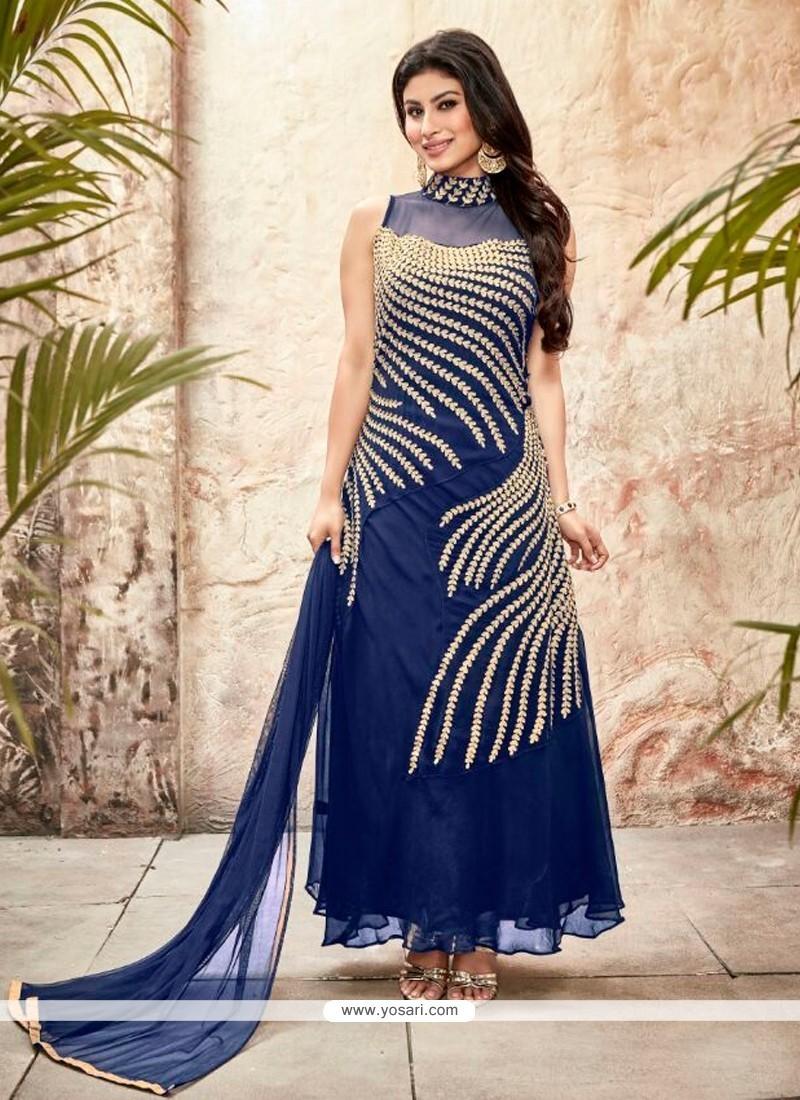Radiant Blue Georgette Designer Suit