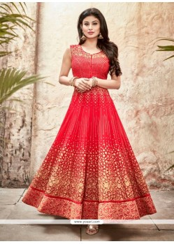 Genius Red Embroidered Work Georgette Designer Suit