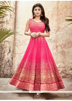 Vivid Georgette Hot Pink Embroidered Work Designer Suit
