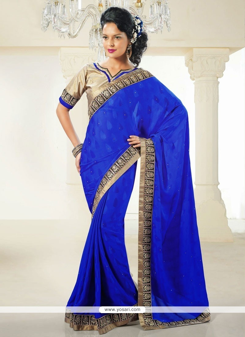 Epitome Blue Crystal Enhanced Jacquard Casual Saree