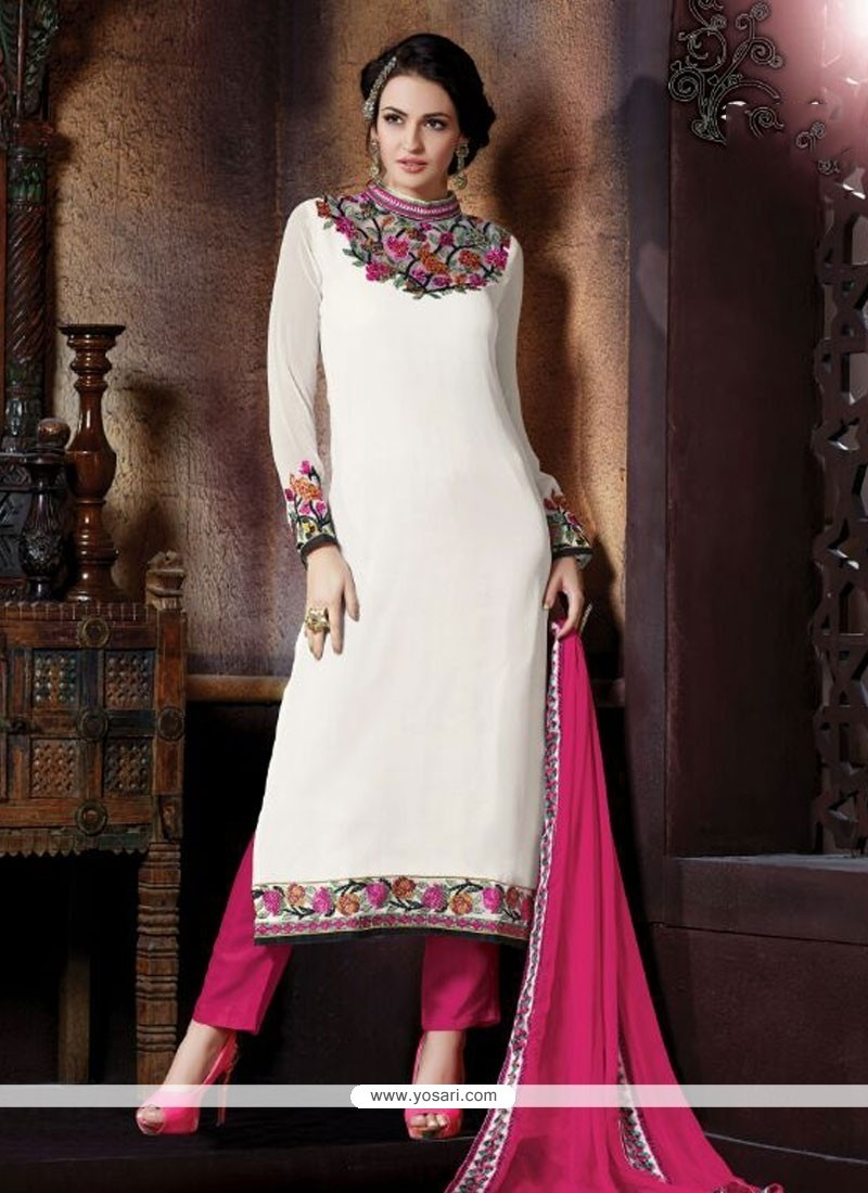 Innovative White Resham Work Georgette Pant Style Suit