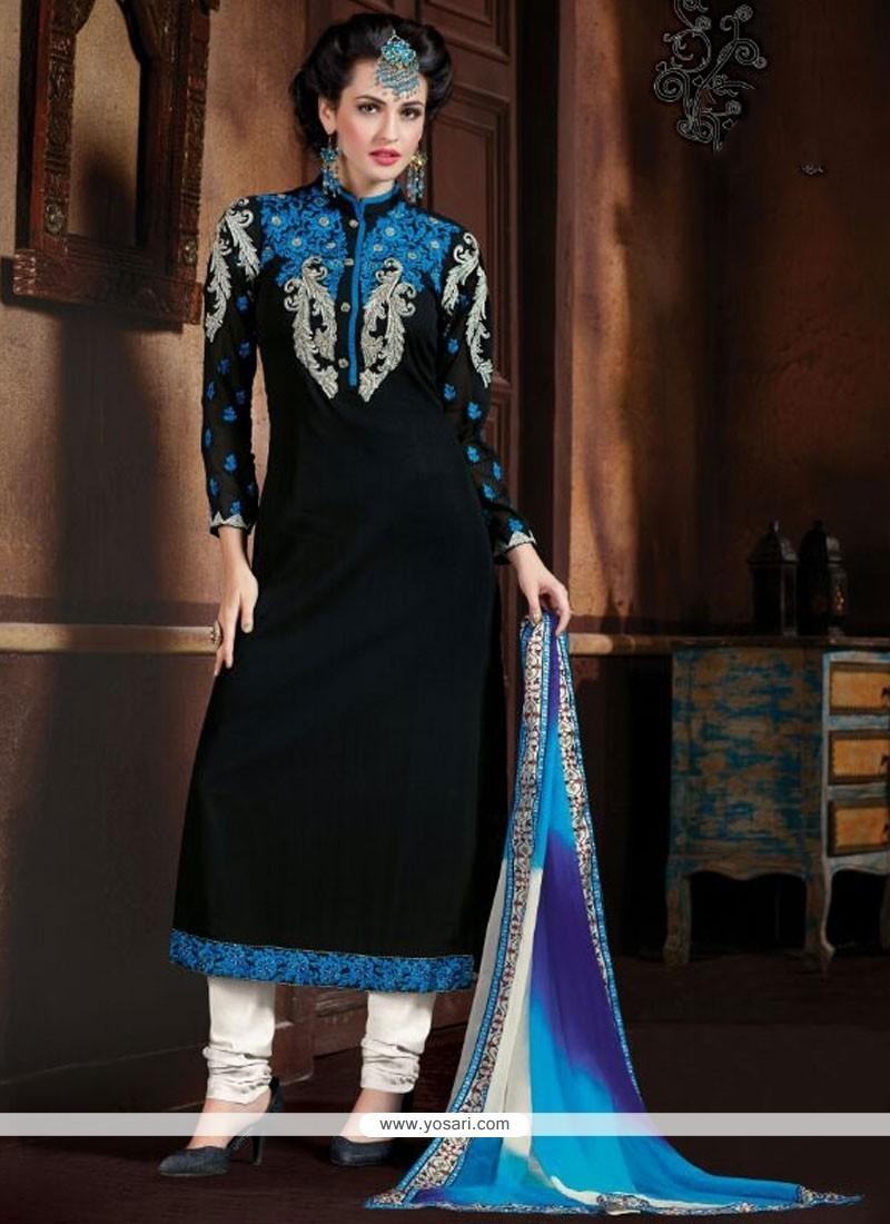 Mesmerizing Georgette Black Designer Straight Salwar Kameez