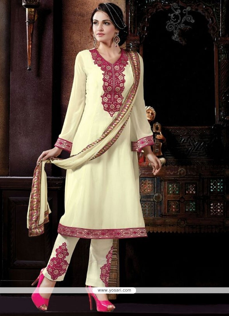 Talismanic Georgette Embroidered Work Pant Style Suit