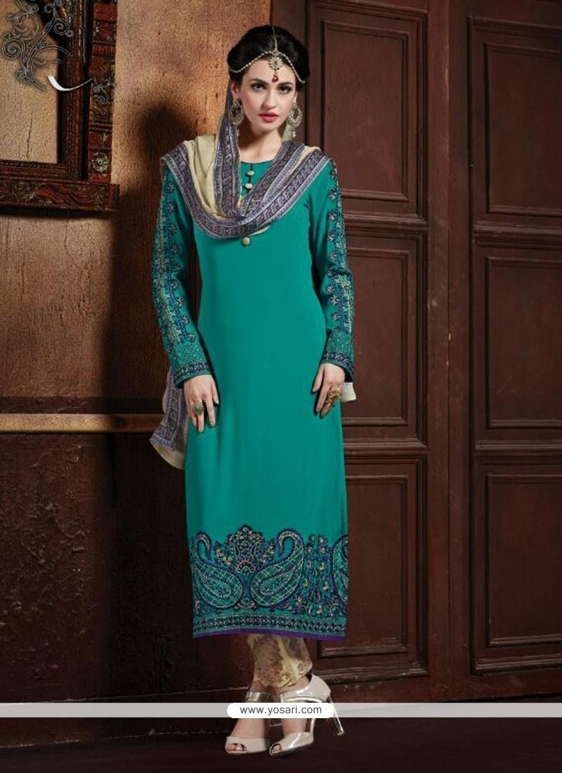 Specialised Embroidered Work Designer Straight Salwar Kameez