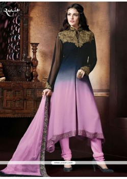 Specialised Resham Work Georgette Black And Pink Churidar Designer Suit