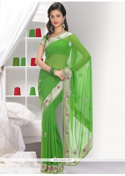 Markable Green Faux Georgette Saree