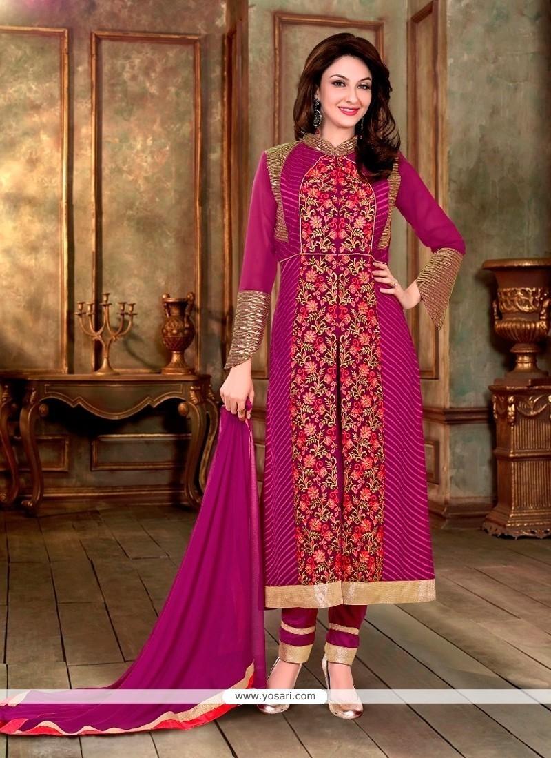 Flamboyant Embroidered Work Magenta Designer Suit