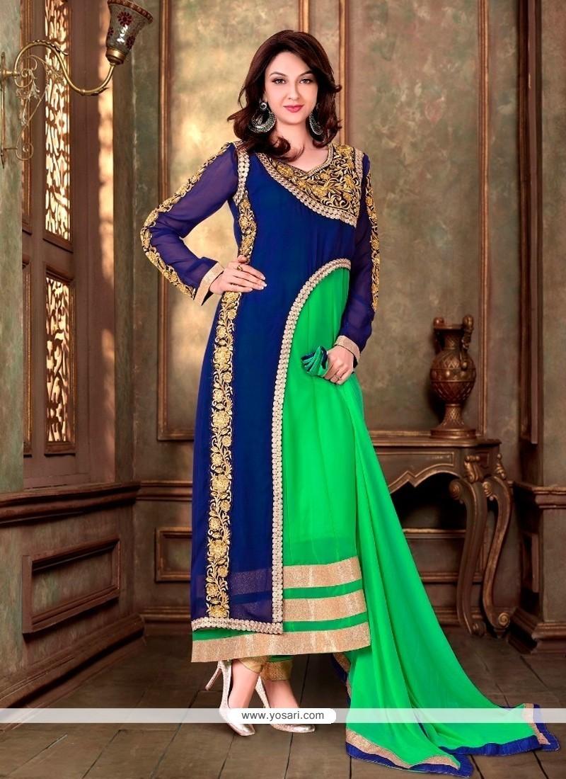 Majestic Resham Work Net Blue And Green Designer Suit