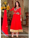 Heavenly Resham Work Red Net Designer Suit