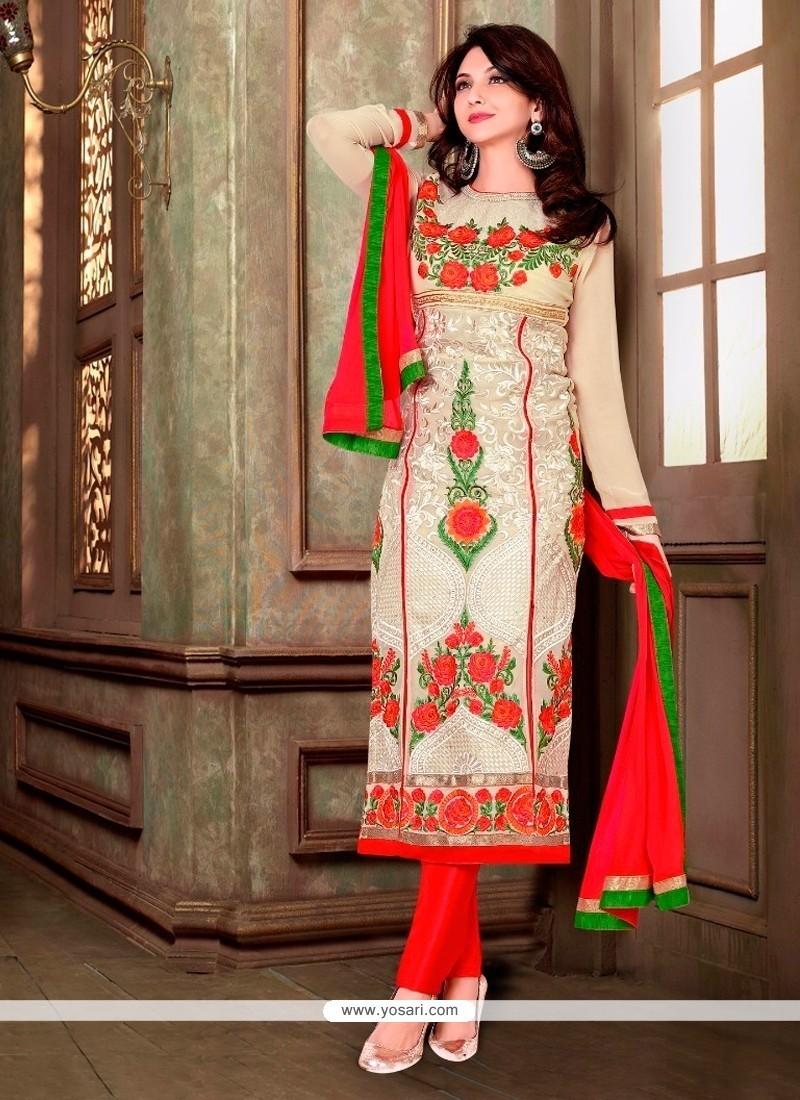 Artistic Resham Work Cream Georgette Designer Suit