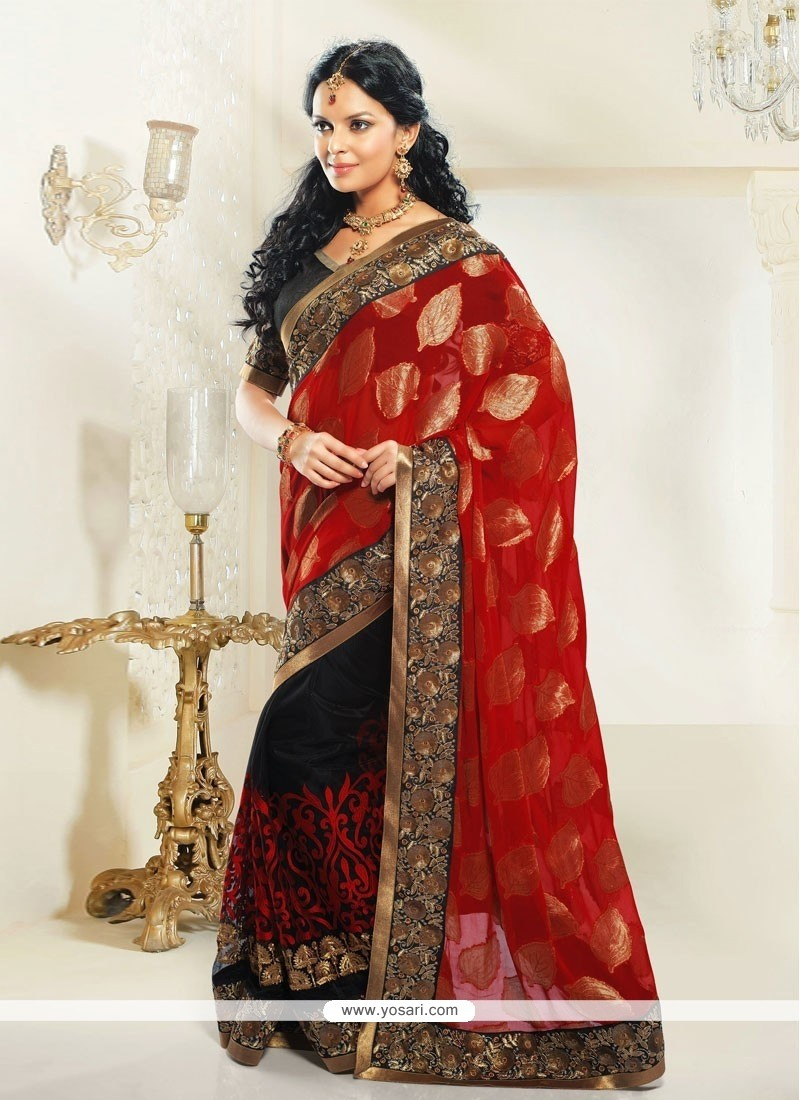 Red And Black Jacquard Designer Saree