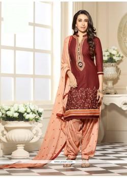 Karishma Kapoor Brown And Peach Cotton Designer Patiala Salwar Kameez