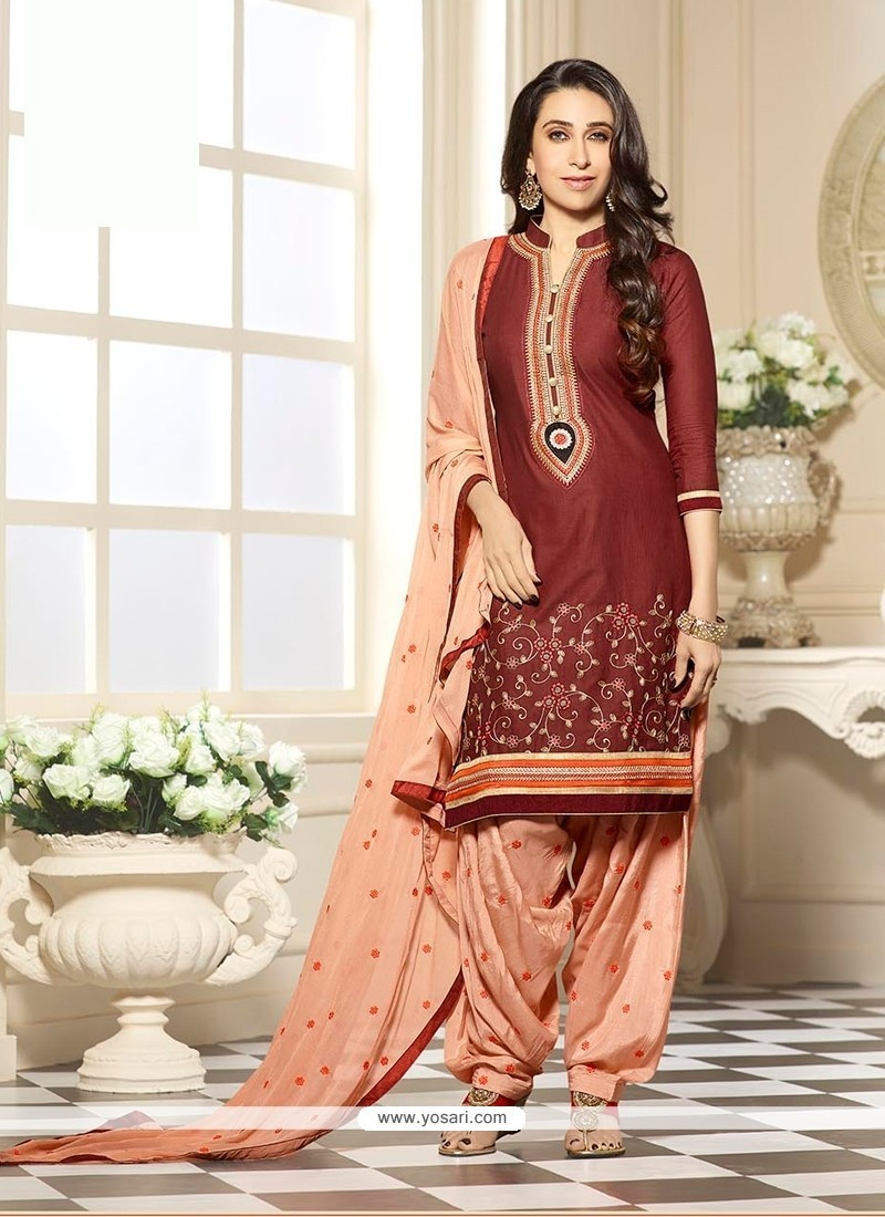 78d2b36a32 Shop online Karishma Kapoor Brown and Peach Cotton Designer Patiala ...
