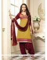 Karishma Kapoor Maroon And Multi Colour Patch Border Work Designer Patiala Salwar Kameez