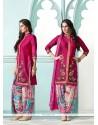 Demure Cotton Magenta Resham Work Designer Suit