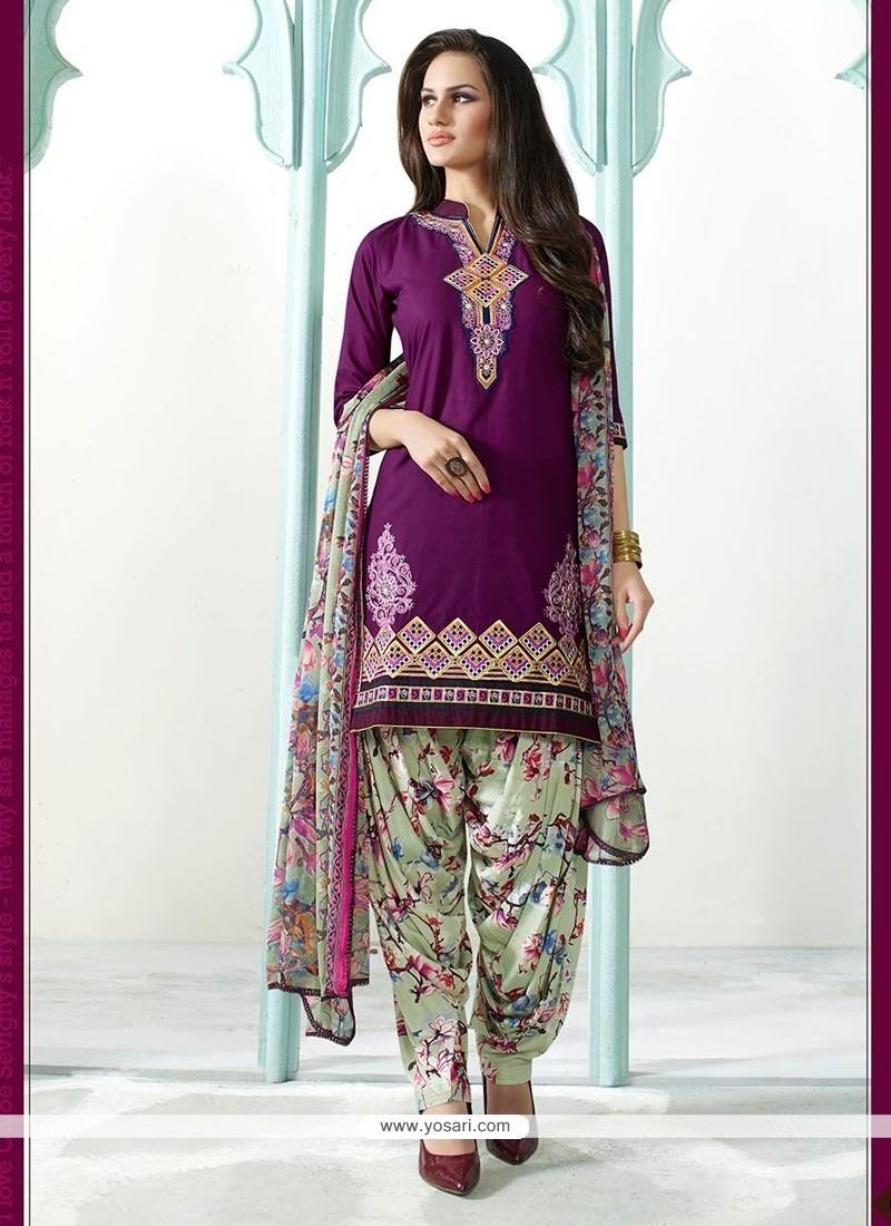 Divine Cotton Purple Resham Work Designer Suit