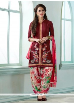 Miraculous Maroon Resham Work Cotton Designer Suit