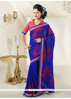 Blue Resham Work Party Wear Saree