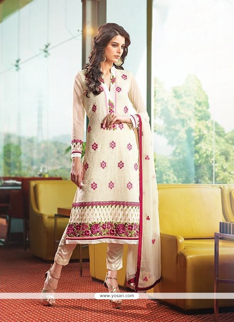 Flamboyant Georgette Embroidered Work Designer Suit