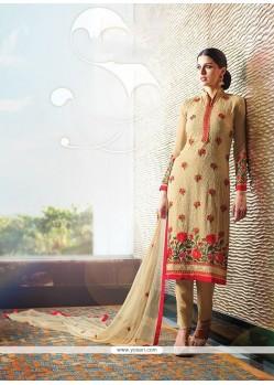Sumptuous Resham Work Beige Georgette Designer Suit
