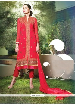 Prominent Resham Work Hot Pink Designer Suit