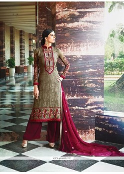 Cute Georgette Resham Work Designer Suit