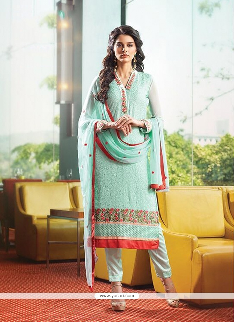 Exciting Georgette Embroidered Work Designer Suit