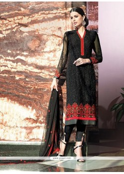 Fetching Black Georgette Designer Suit
