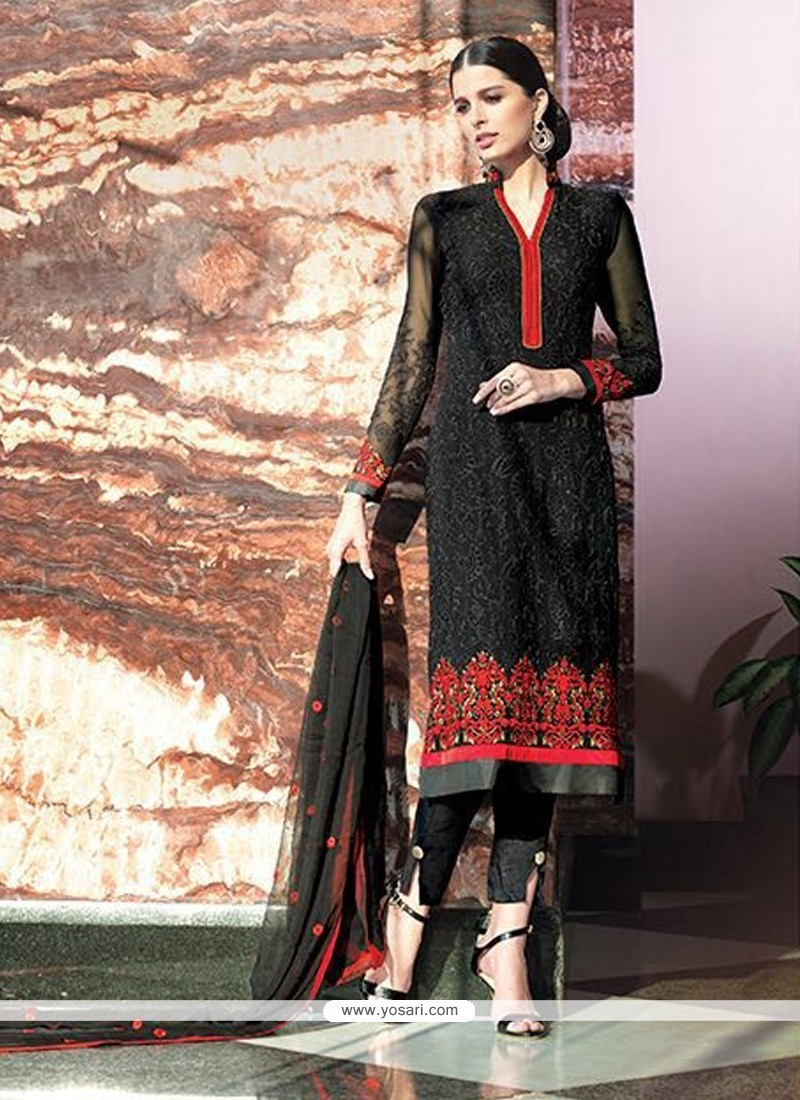 Fetching Black Georgette Designer Suit