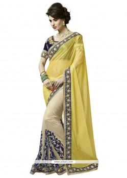Compelling Yellow Designer Saree