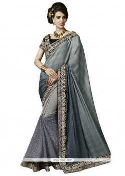 Enthralling Faux Crepe Grey Designer Saree