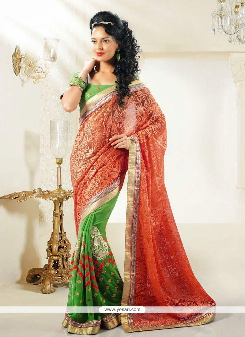 Orange And Green Shaded Brasso Half And Half Saree