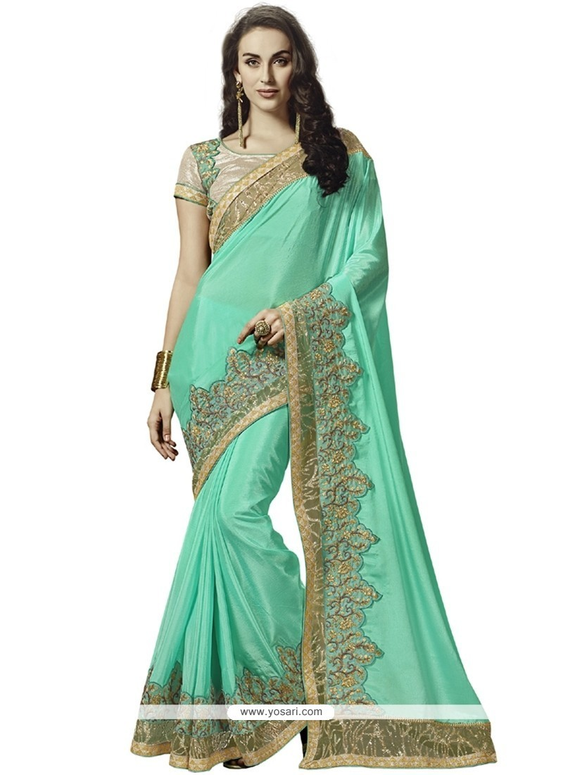Dainty Faux Crepe Embroidered Work Designer Saree