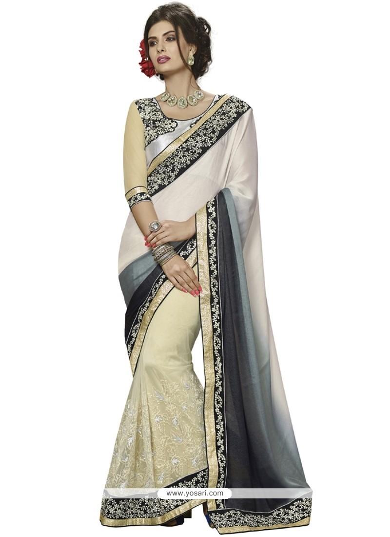 Flawless Patch Border Work Off White Designer Saree
