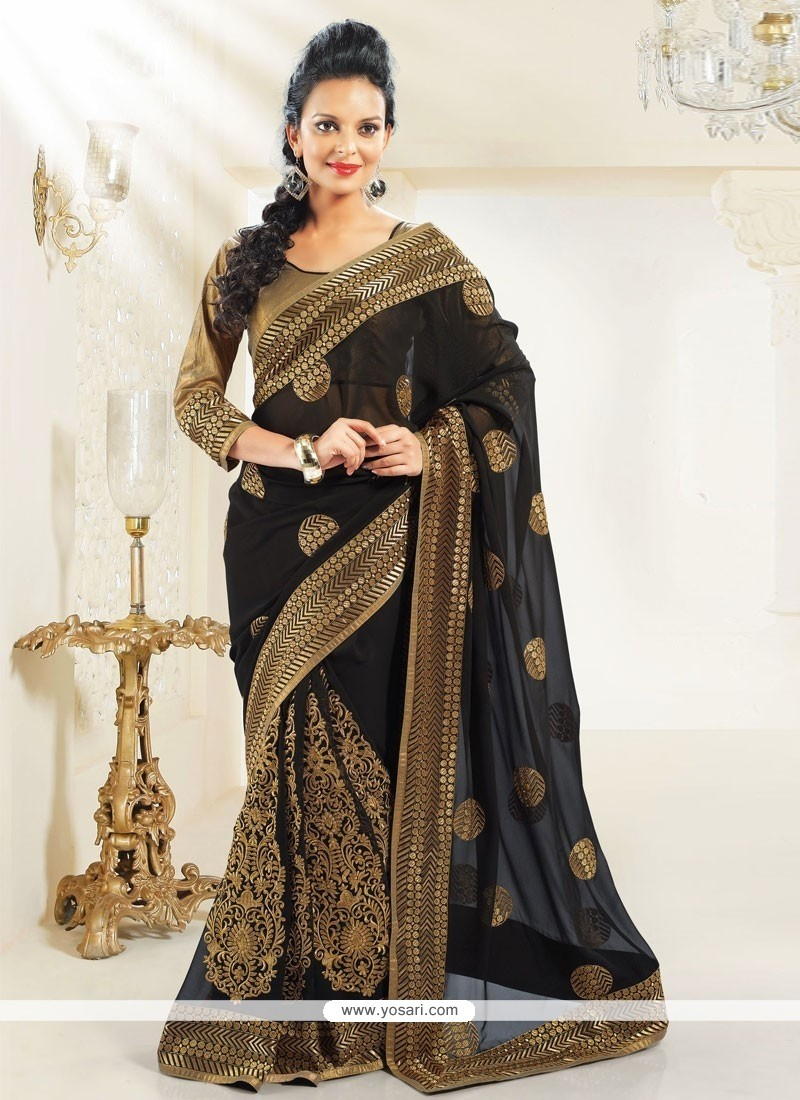 Breathtaking Black Faux Georgette Saree