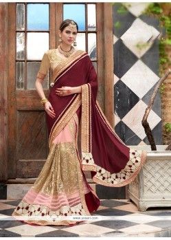 Distinguishable Beige Patch Border Work Georgette Designer Saree