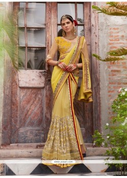 Refreshing Embroidered Work Yellow Faux Chiffon Designer Saree